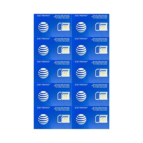 (10 Pack) Authentic AT&T ATT SIM Card Micro/Nano/Standard GSM 4G/3G/2G LTE Prepaid/Postpaid Starter Kit Unactivated Talk Text Data & Hotspot