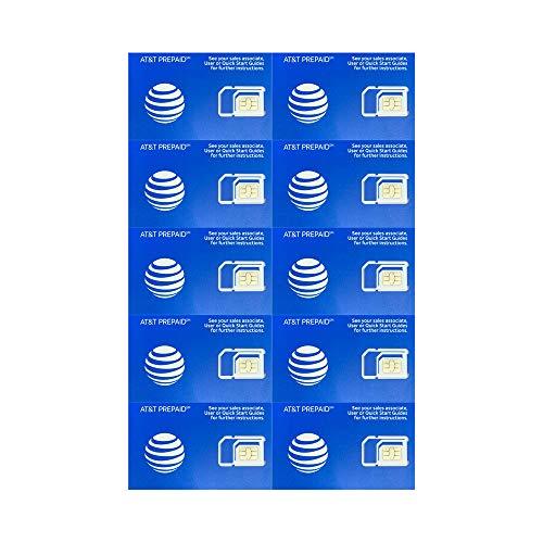 (10 Pack) Authentic AT&T ATT SIM Card Micro/Nano/Standard GSM 4G/3G/2G LTE Prepaid/Postpaid Starter Kit Unactivated Talk…