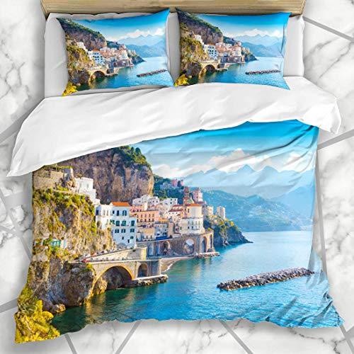 HARXISE Bedding - Duvet Cover Set Cliff Sorrento Morning View Amalfi Cityscape Night On Coast Italy Mediterranean Positano City Design Microfiber New Three-Piece Set Of Various Patterns 225 * 225