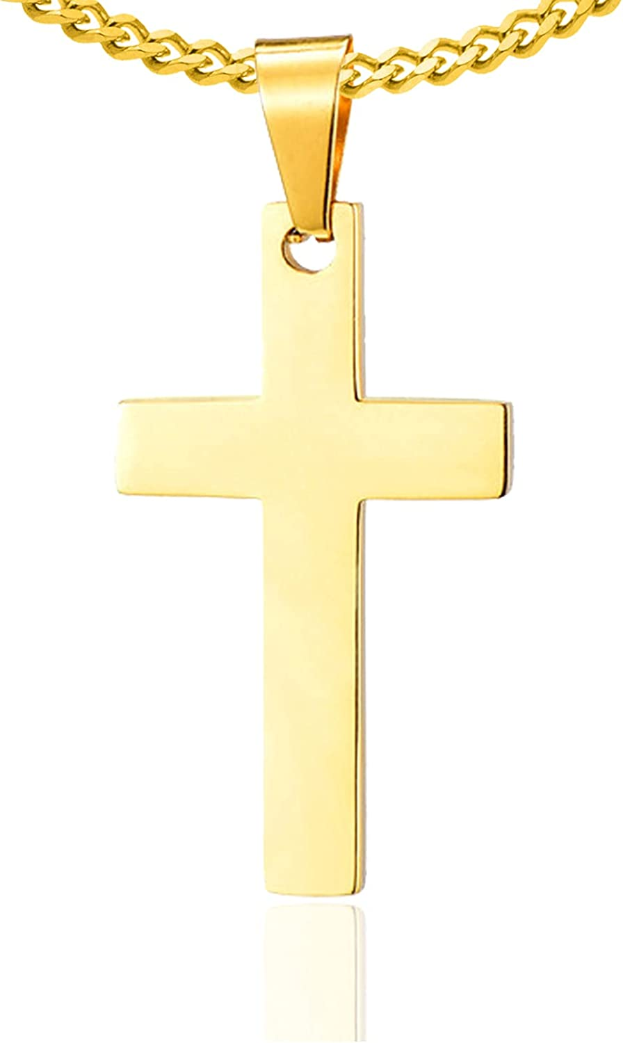 Xusamss 18K Gold Plated Stainless Steel Cross Religious Pendant Necklace,22inches Link Chain