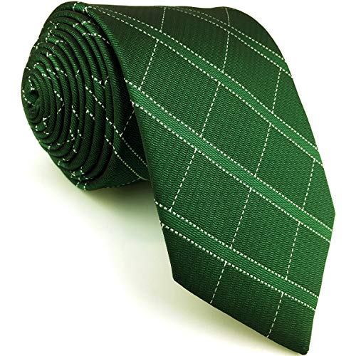 SHLAX&WING Mens Tie Dark Green Checkes Neckties for Men Extra Long 63 inches XL