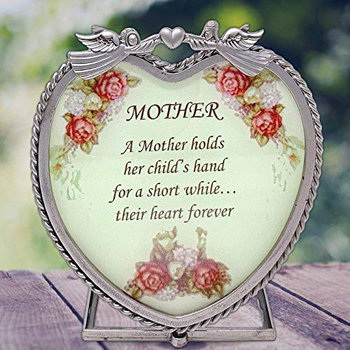 BANBERRY DESIGNS Mom Poem Candle Holder - Heart Shaped Metal Design with Angels and Roses - A Mother Holds Her Child's Hand Expression - Approx. 4.5 Inches...
