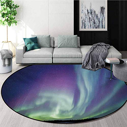 Amazing Deal Aurora Borealis Modern Machine Washable Round Bath Mat,Exquisite Atmosphere Solar Starr...