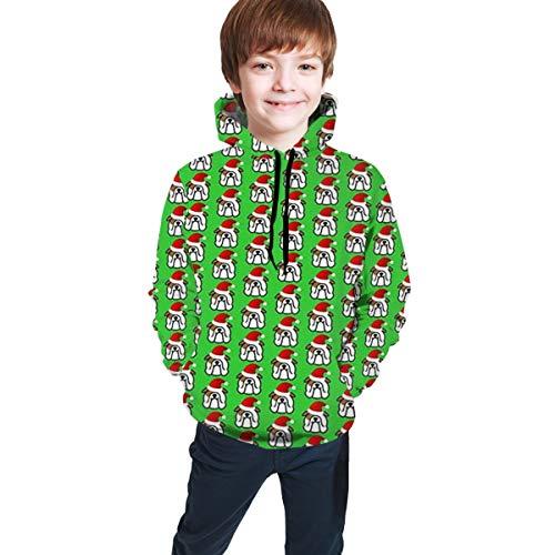 DMWY Sweatshirt mit Kapuze, Motiv: Englische Bulldogge, Weihnachtsmann, für Jungen und Mädchen, modisch, langärmelig Gr. S, Schwarz