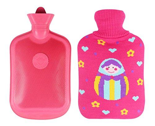 Bottiglia di acqua calda rettangolare lavabile morbida con coperchio 2 L -Doll