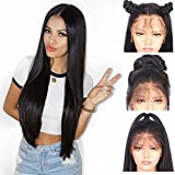 Andria synthetische Spitzefrontseitenperücke gerade Haarperücke Lace Front Synthetic Wigs Long Straight Heat Resistant Hair PrePlucked Hairline with Baby Hair Bleached Knots for Women Black Hair 26'