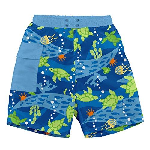 I Play Pocket Badehose Schwimmwindel, Royal Blau Schildkröte Journey