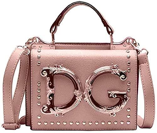 Luxe Mode Klinknagel Handtas Metalen Letter Flap Bag Dames Crossbody Messenger Bag Dames Schoudertas-Een maat_Roze Gorgeous