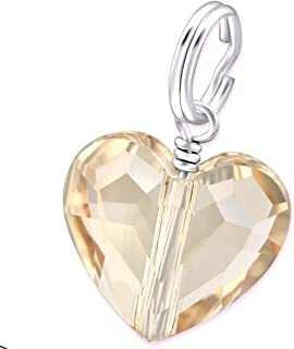 Silver Heart Charm With - Light Silk Swarovski Crystal