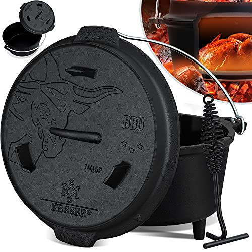 KESSER® Dutch Oven Set BBQ 7,3 Liter,...