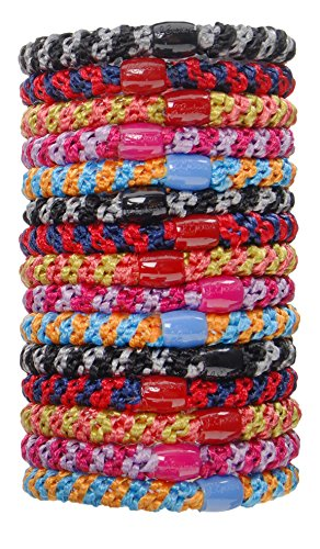 L. Erickson Grab & Go Ponytail Holders, Stripe, Set of Fifteen - Exceptionally Secure with Gentle Hold