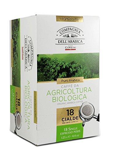 Caffè Corsini Compagnia dell Arabica Caffè da Agricoltura Biologica Cialde in Carta Ese 44 Mm 100% Arabica il Caffè Espresso Italiano Biologico Intenso e Speziato - Pacco da 4 x 18 Cialde