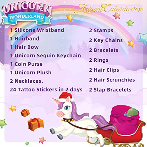 JOYIN Christmas 24 Days Countdown Advent Calendar with 47 Unicorn Accessories Including Jewelry, Stickers, Stamps, Rings and More for Boys, Girls, Kids and Toddlers Xmas Party Favor Gifts