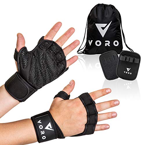 VORO Workout Gloves Ventilated Weight Lifting Gloves with Wrist Wraps, Flexible Full Palm Protection for Weightlifting, Powerlifting, Crossfit WODs, Cross Training Exercise, Men & Women (Large)