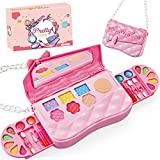 Kids Makeup Kit for Girls, Washable Real All-in-One Cosmetics Set for Age 3+. Gift Includes Pink Princess Shoulder Bag, Mirror, Eye Shadow, Blush, Lip Gloss and More for Party Game Christmas Birthday