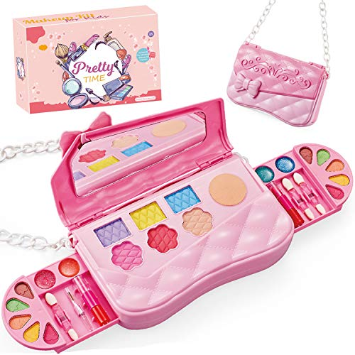 All-in-One Glam Kids Make Up Kit, Washable Real Makeup Set for Girls Age 3+. Includes Pink Princess Shoulder Bags, Mirror, Eye Shadow, Blush, Brushes, Lip Gloss and More