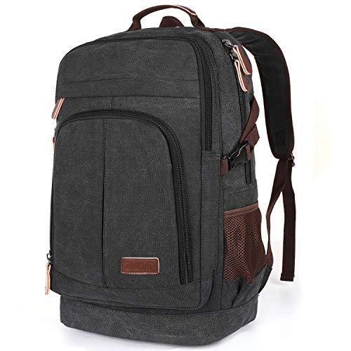 Mochila para hombre de lona de 17,3 pulgadas, para ordenador portátil, 35 litros, mochila escolar, para niños, adolescentes, para el trabajo, para la vida cotidiana, negocios, color negro