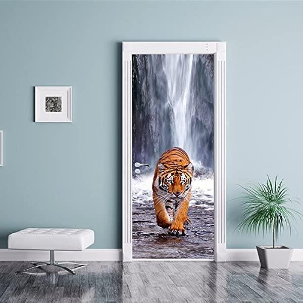 Fymural 3D 门贴纸虎卧室壁画壁纸贴纸乙烯可移动贴花家居装饰 30 月个月 78 77 × 200厘米