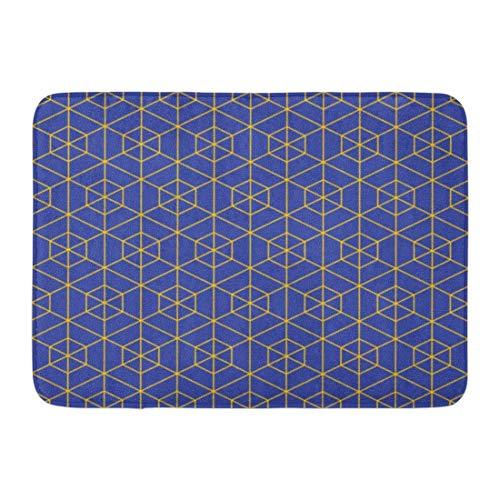 Alfombrillas Alfombras de baño Alfombrilla para puerta exterior / interior Gráfico Bauhaus Azul y amarillo Esquema hexagonal Patrón de cuadrícula Bloque abstracto Decoración de baño Alfombra Alfombra