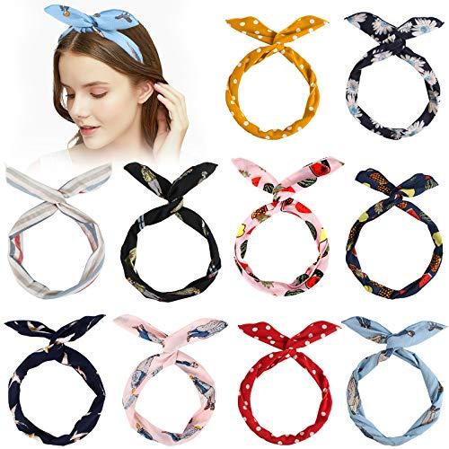 Dadabig 10 Stück Biegbares Stirnbänder, Vintage Twist Bow Wired Stirnbänder Twist Knot Haarband Bögen Eisendraht Hasenohren Stirnband Yoga Kopftuch Sport Turban für Mädchen Frauen(10 Styles)