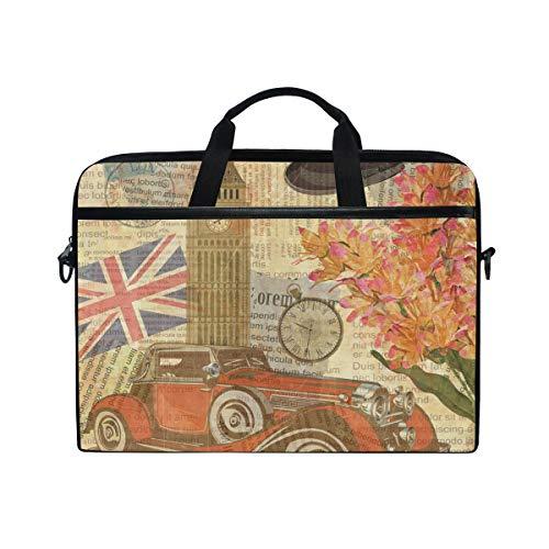 Linomo Laptoptasche Laptoptasche Vintage Motiv London britisches Zeichen fur Laptops mit 33 cm 13 Zoll 14 Zoll und 145 Zoll