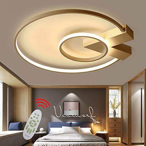 LED Deckenleuchte/Deckenlampe 38W Dimmbar Wohnzimmerlampe mit Fernbedienung Modern Couchtisch Rund Designer-Lampen Metall Acryl Kronleuchte für Esstisch Schlafzimmer Flur Küche Büro Bad Lampe (Gold)