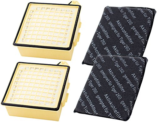 Sparset | 2 Hepa-Filter Mikrofilter | 2 Kohlefilter geeignet für Vorwerk Staubsauger Tiger 260 VT 260 VT260