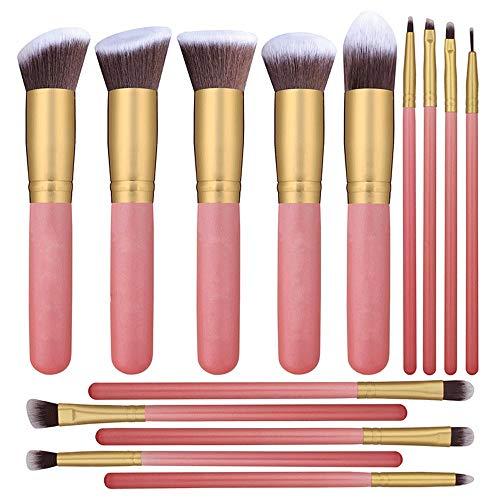 Pinceaux de maquillage femmes Cosmétique Kabuki 14pcs Maquillage Pinceau Kit Eyeliner Mélange Liquid Power Foundation Fibre Cheveux Pinceau Rose Doux