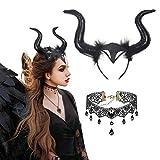 LAMEK Bandeau de Cornes du Diable Gothique avec Collier en Dentelle Cheveux...