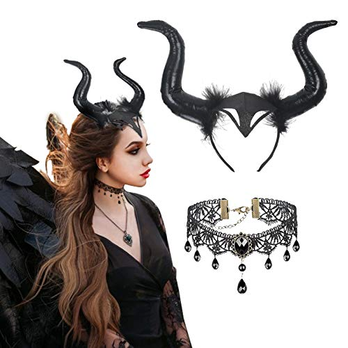LAMEK 2 Pcs Königin Hörner Kopfschmuck Horn Kopfbedeckung Damen Karneval Kostüm mit Gothic Retro Spitzenhalskette Teufelhörner Haareif Böse Stirnband Schwarz Haarband für Fasching Maskerade Cosplay