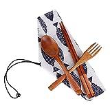 Cuchara de madera Moent Vajilla Japonesa Vintage Palillos de Madera Cuchara Tenedor 3 piezas Set Regalo Cocina comedor & Bar