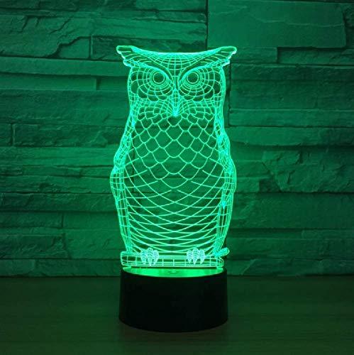 Animal Búho Luz De Noche 3D 7 Colores Cambio Led Lámpara De Mesa De Escritorio Dormitorio Infantil Iluminación Para Dormir Decoración De Fiesta De Vacaciones Regalo