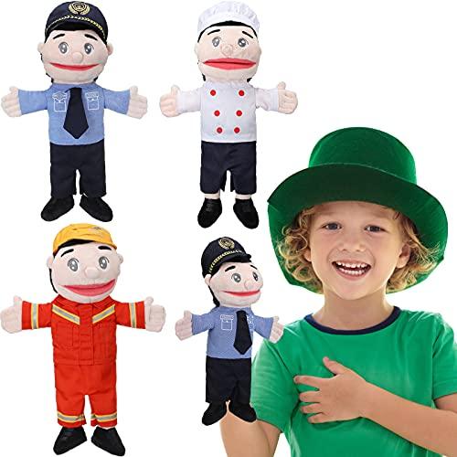 Marionetas de Bombero Policía Chef para Padres y Maestros Juego de Roles Narración de Cuentos Pacificar al Bebé y Enseñanza Interactiva 3 Trajes