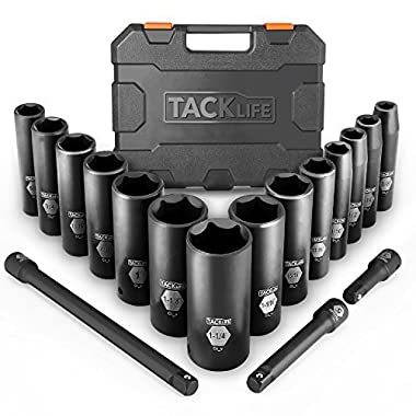Drive Impact Socket Set, Tacklife 17pcs 1/2-inch Drive Deep Impact Socket Set, 6 Point, 3/8 - 1-1/4 inch, 14pcs Inch Sockets with 3pcs 1/2-Inch Drive Impact Extension Bar Set - HIS2A