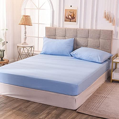 CYYyang Protector de colchón de bambú Funda de colchón y Ajustable Sábana de Cama de Color Puro de una Sola Pieza a Prueba de Polvo-Azul x_100x200x30cm