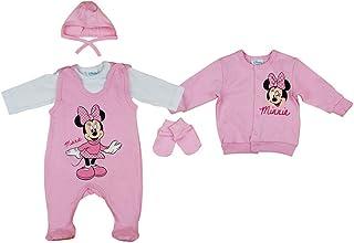 Kleines Kleid Disney Baby Mädchen Set 5-teiler mit Mütze ärmelloser-Strampler Body Kratzhandschuhe Jacke in Größe 50 56 62 100% Baumwolle Minnie Mouse Erstausstattung