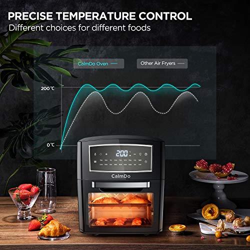 Freidora sin Aceite, CalmDo 12L Horno de Aire Caliente, 18 Programas para Freír, Asar, Deshidratar, Hornear, Recalentar, 1500W Temperatura y Temporizador Ajustable, con 10 Accesorios y Recetas