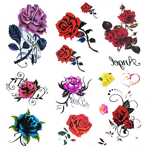 6 Sheet small fake Rose tattoo for women Girls,Temporary Tattoos blue red flower ,waterproof and Long Lasting sexy tattoos flowers -include purple pink yellow rose flowers , butterfly