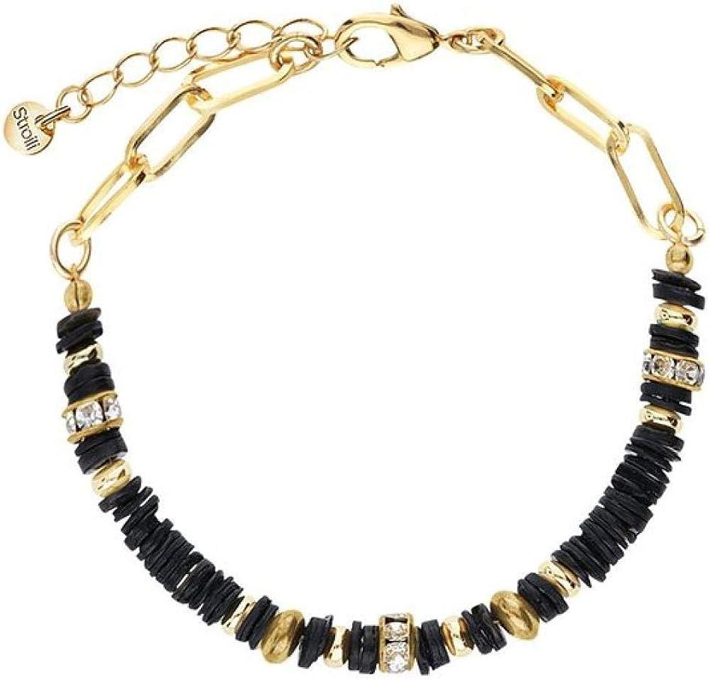 Stroili oro bracciale per donna in ottone dorato e strass con elementi conchiglia neri 1670362