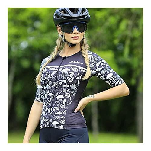 LYYJIAJU Ciclismo Skinsuit Suit Cycling Skinsuit Donne Manica Corta Triathlon Abiti Summer Abbigliamento Set One Piece Bici Dress Tuta (Color : E, Size : M)