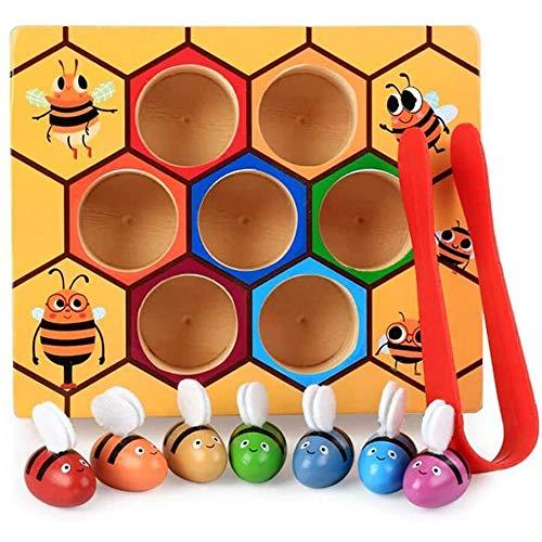 YEXINTMF Juguetes de Habilidad for niños pequeños, la Colmena de la Abrazadera for Tarjetas Flash, la clasificación por Color Rompecabezas de Madera, Juguetes educativos Regalo