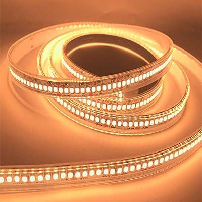 JOYLIT IP67 Waterproof LED Strips Warm White 3000K, UL Listed 1200LEDs/16.4ft 2835 Strip Lights 7800lm High Lumen Tape Light for Landscape,Storefronts,Building Illumination