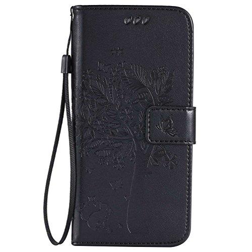 THRION Samsung Galaxy S7 Edge Hülle, PU Cat und Baum Brieftaschenetui mit magnetischer Handschlaufe und Ständerhalterung für Samsung Galaxy S7 Edge, Schwarz