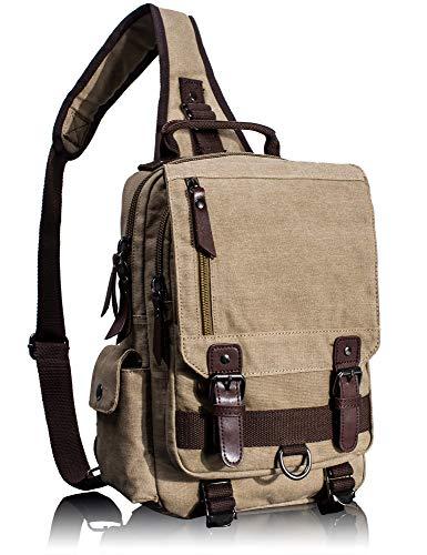 Mochila de lona retrô com bolsa tiracolo para viagem Leaper, Caqui, Medium