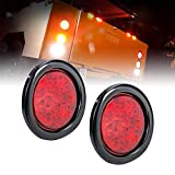 2pc 4' Round Red LED Trailer Tail Lights [DOT...
