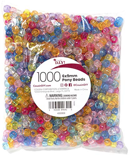 Cousin DIY Plastic Pony Mix, 6x9mm, 1000 Translucent Beads in Assorted Colors, Multicolor