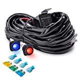 MICTUNING Heavy Duty 14AWG 300W 2-Circuit Led Light Bar Wiring Harness Kit with Fuse, 60Amp Relay, Dual Waterproof Switches Red Blue(14AWG)