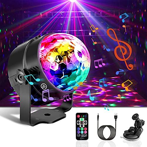 Boule Disco de Commande Vocale, Detake 7 Couleurs Lampe de Scne avec Télécommande et Câble USB 4M, 360° Rotative Jeux de Lumiere Lampe de Scène pour Fête/Noël/Bar/Club/DJ