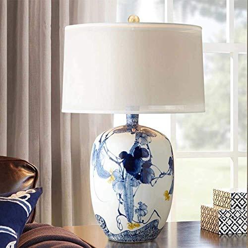 GDICONIC Lámpara de Mesa Chino lámpara de Mesa de Porcelana Azul y Blanca Hotel Sala de Estar Dormitorio Estudio lámpara de Noche lámpara de Mesa Modelo habitación 37x65cm