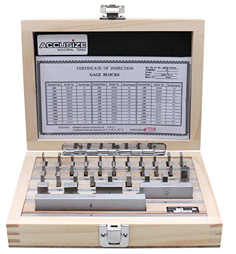 Accusize Industrial Tools 36 Pc Steel Gage Block Set, Grade As-2 Asme B89.1.9-2002, with Mfg Certificate, 0036-6001